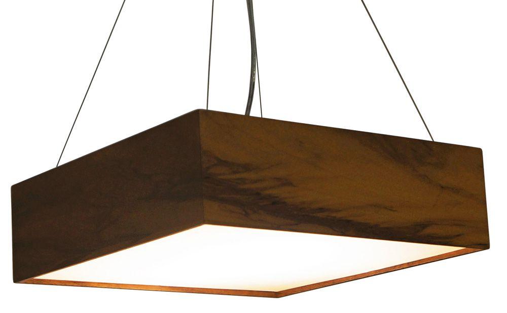 Pendente Clean Em Madeira 12x40x40cm 3xE27 Bivolt Union Iluminação 042