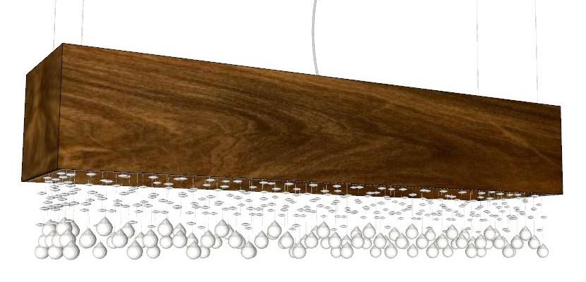 Pendente Clean Retangular Com Cristais 36x120x30cm 8xSpot Led Bivolt Union Iluminação 268