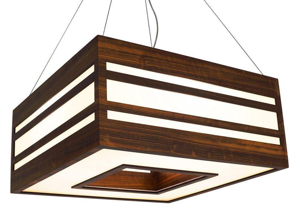 Pendente Elegance Em Madeira 25x55x55cm 4xE27 Bivolt Union Iluminação 025