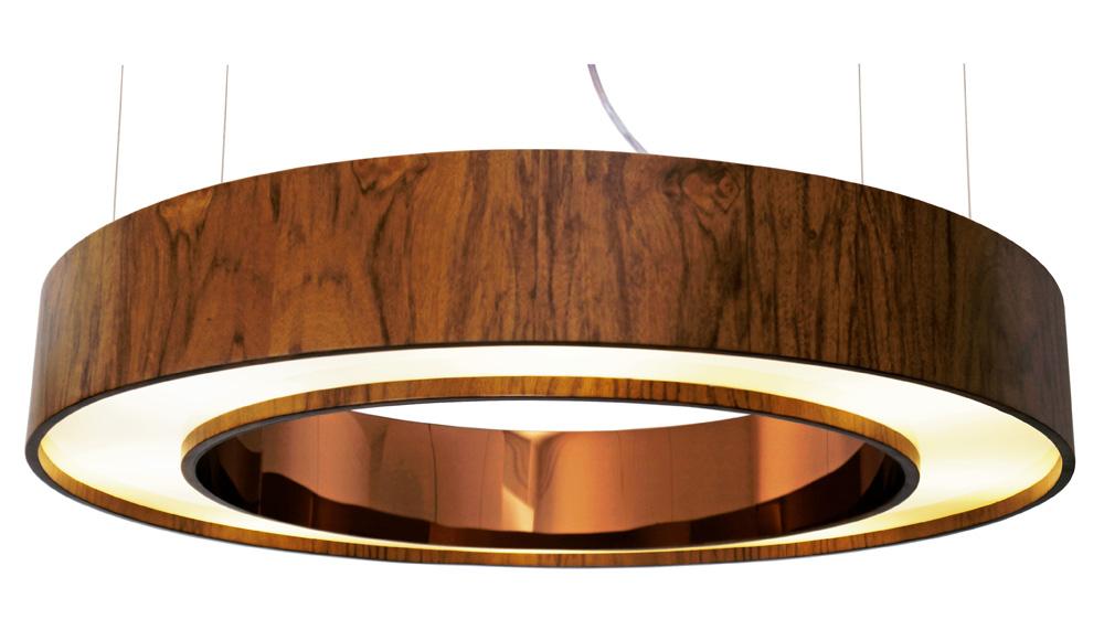 Pendente Em Madeira Anel Cilíndrico Espelhado Ø60x12cm 6xG9 Bivolt Union Iluminação 202