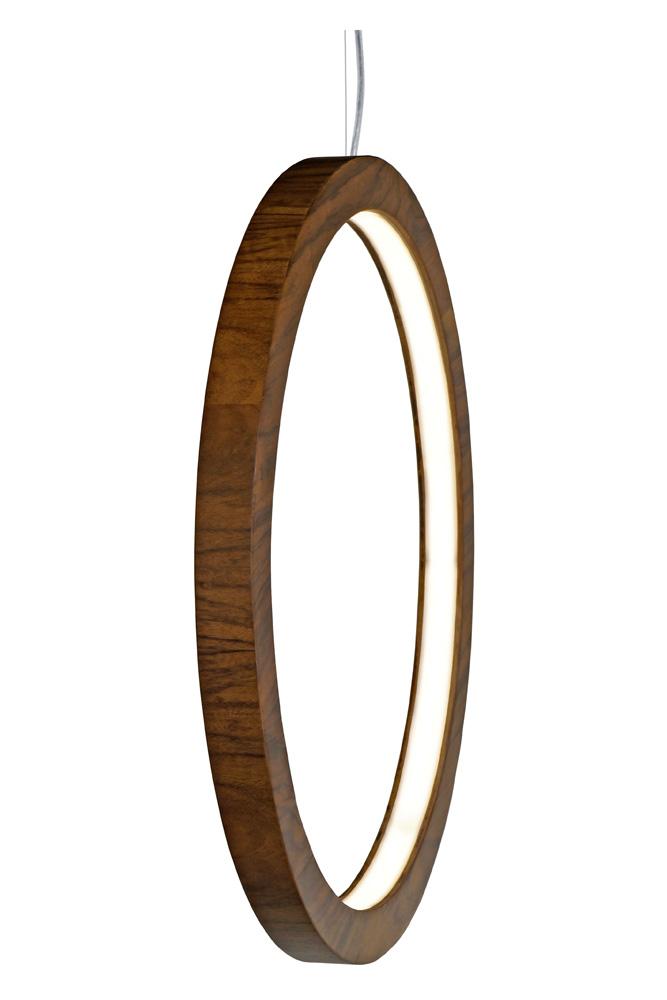 Pendente Anel Cilíndrico Vertical Em Madeira Ø90x4cm 1xLed 28w 2700k Bivolt Union Iluminação 282
