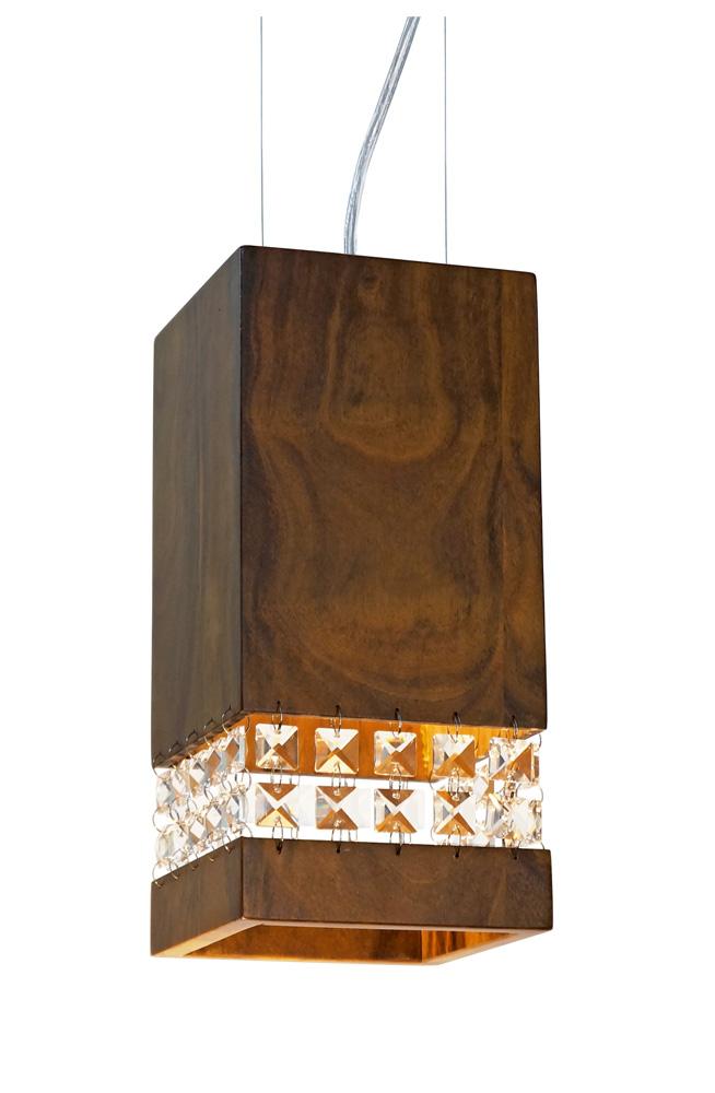 Pendente Em Madeira Box Com Cristais 25x12x12cm 1xE27 Bivolt Union Iluminação 276