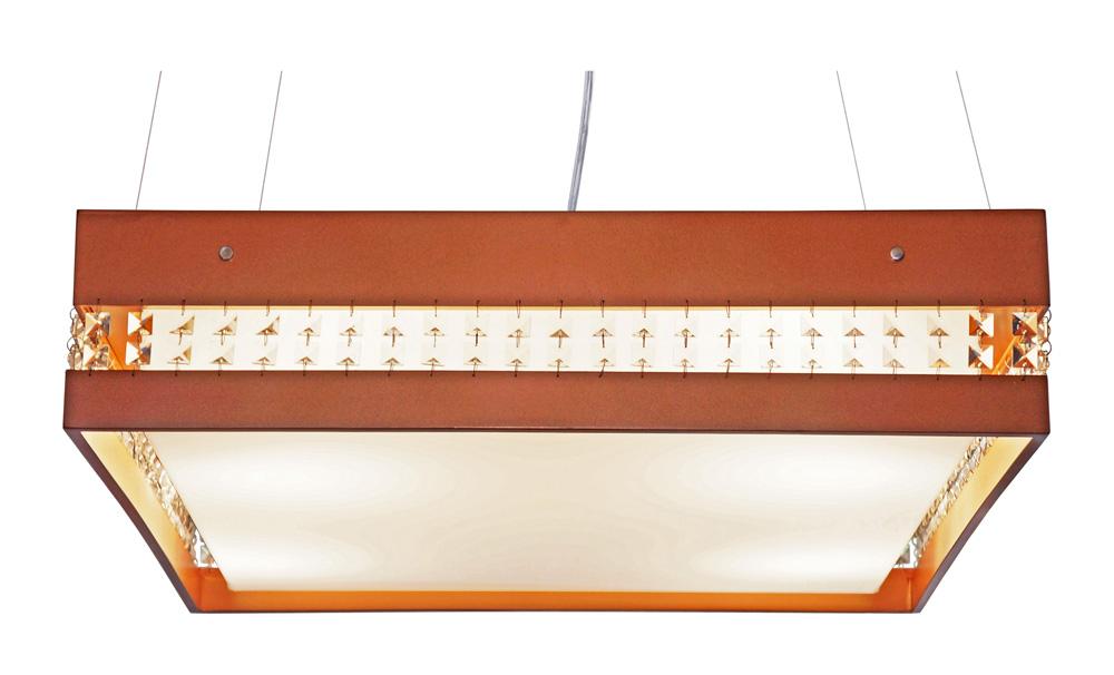 Pendente Quadrado Com Cristais Em Madeira 55x55x15cm 4xE27 Bivolt Union Iluminação 274