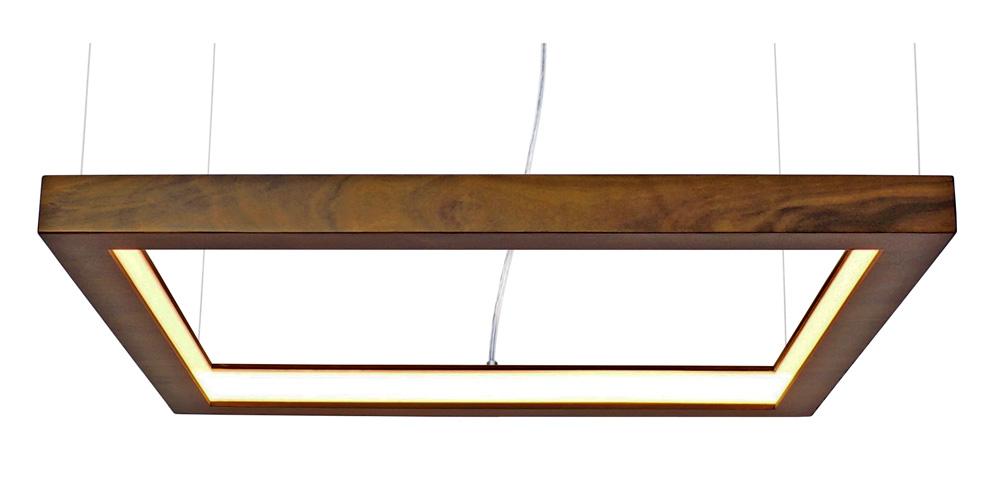 Pendente Quadrado Vazado Horizontal Em Madeira 60x60x4cm 1xLed 18W 2700k Bivolt Union Iluminação 285
