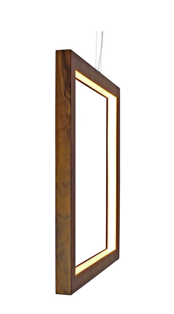 Pendente Quadrado Vazado Vertical Em Madeira 70x70x4cm 1xLed 21w 2700k Bivolt Union Iluminação 292