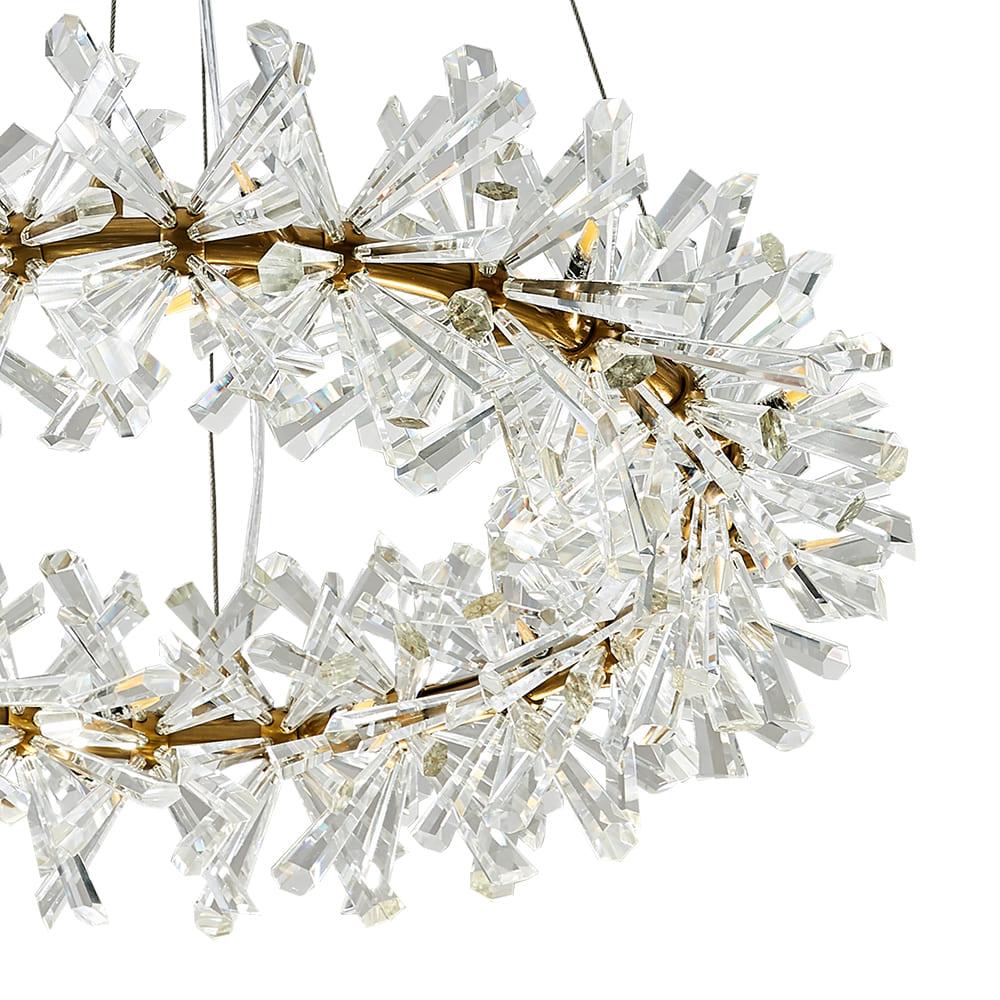 Pendente Flora Dourado e Transparente 80x18cm 26xG4 78W Bivolt Bella Iluminação DY001L