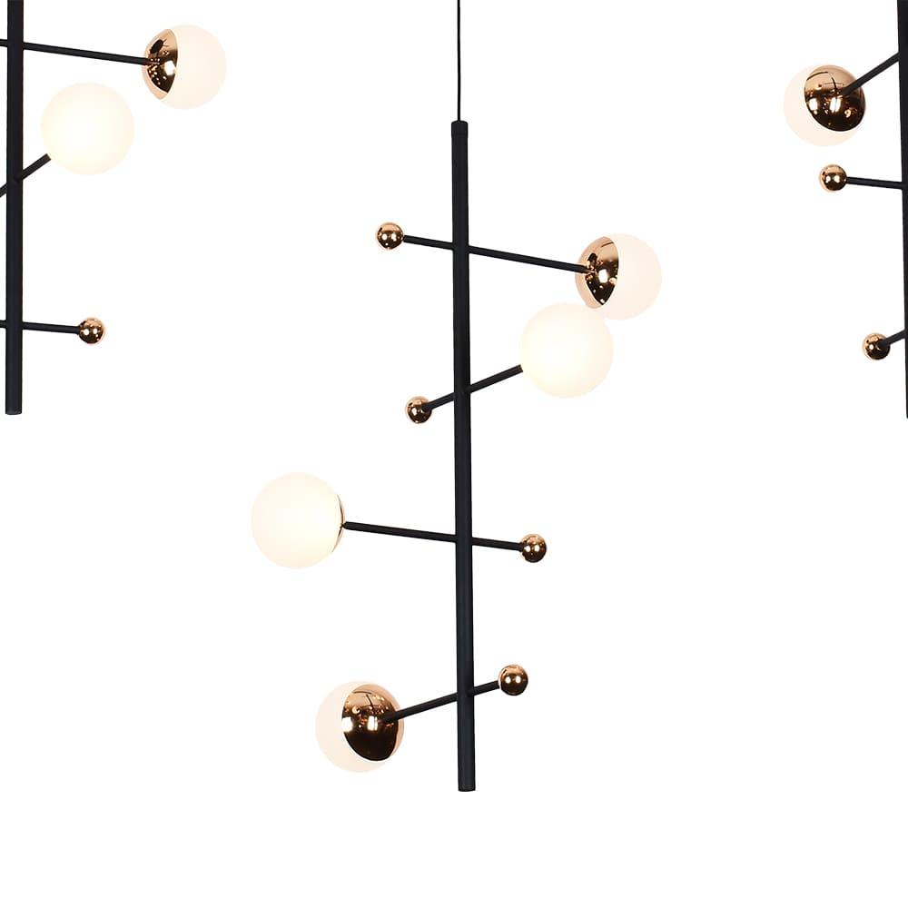 Pendente Fuxico Preto e Dourado 100x35x100cm 12xLed 36W Bivolt Bella Iluminação JU002