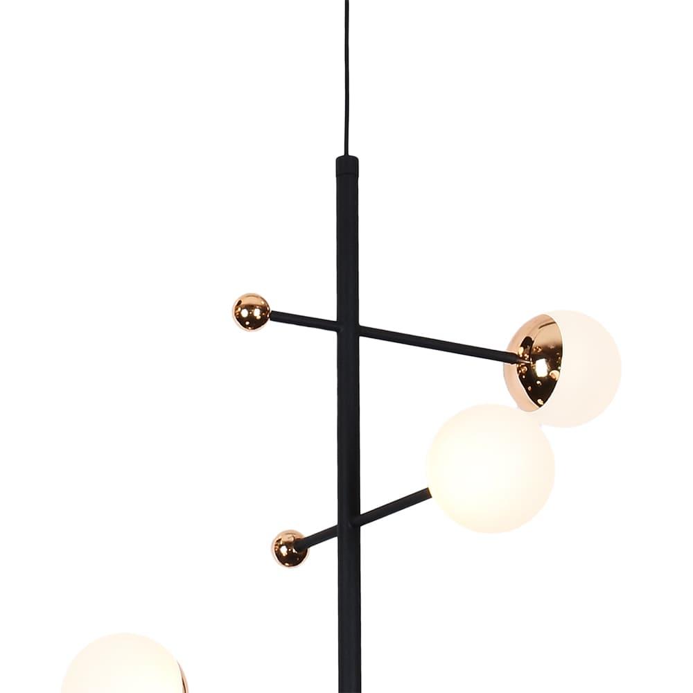 Pendente Fuxico Preto e Dourado Ø35x100cm 4xLed 12W Bivolt Bella Iluminação JU001