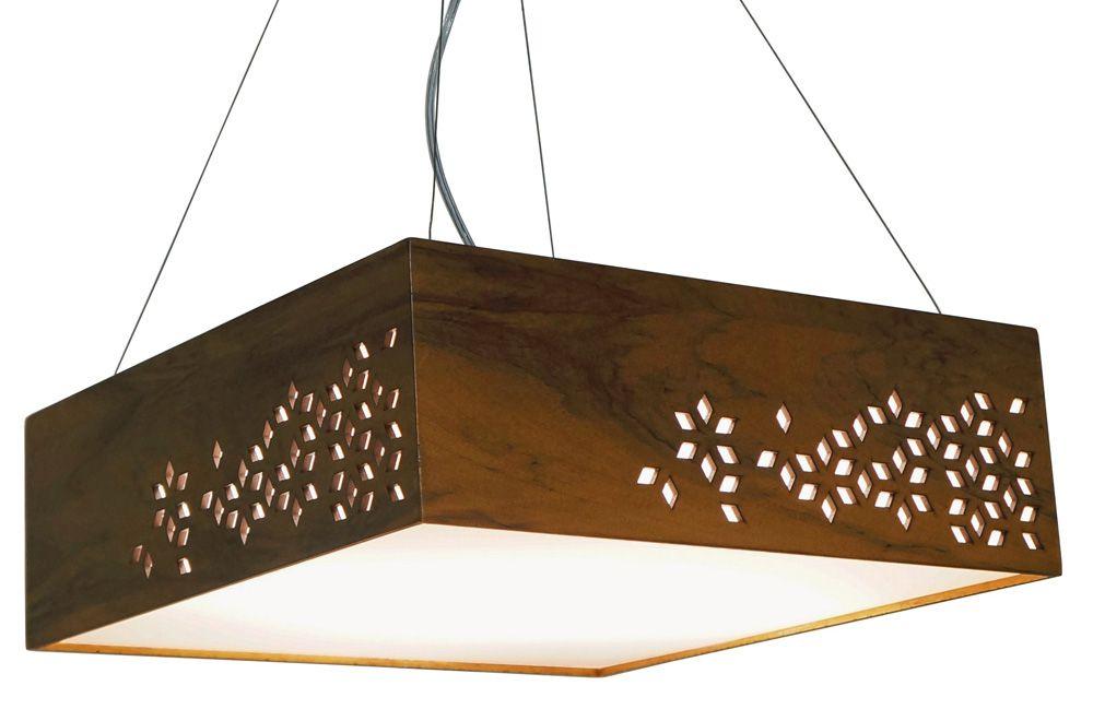 Pendente Geometric Horizontal Em Madeira 15x35x35cm 2xE27 Bivolt Union Iluminação 177