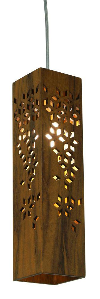 Pendente Geometric Vertical Estreito Em Madeira 40x10x10cm 1xE27 Bivolt Union Iluminação 074