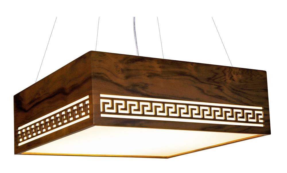 Pendente Gregas Horizontal Em Madeira 15x35x35cm 2xE27 Bivolt Union Iluminação 176