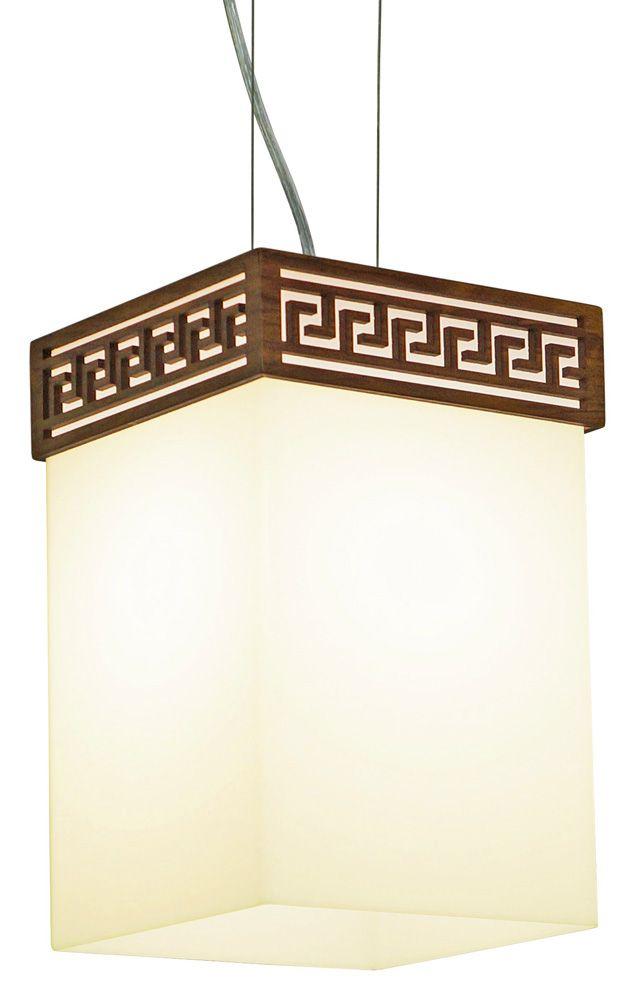 Pendente Gregas In Box Em Madeira 30x20x20cm 1xE27 Bivolt Union Iluminação 031