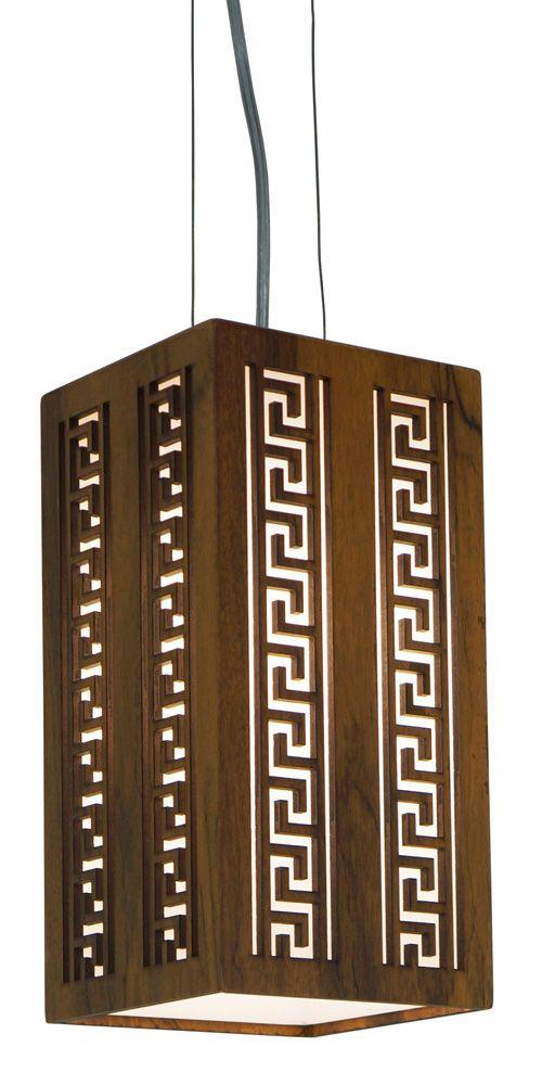 Pendente Gregas Vertical Em Madeira 30x15x15cm 1xE27 Bivolt Union Iluminação 045