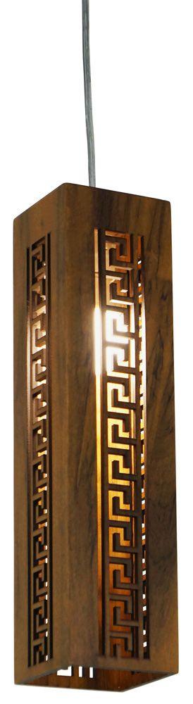 Pendente Gregas Vertical Estreito Em Madeira 40x10x10cm 1xE27 Bivolt Union Iluminação 073