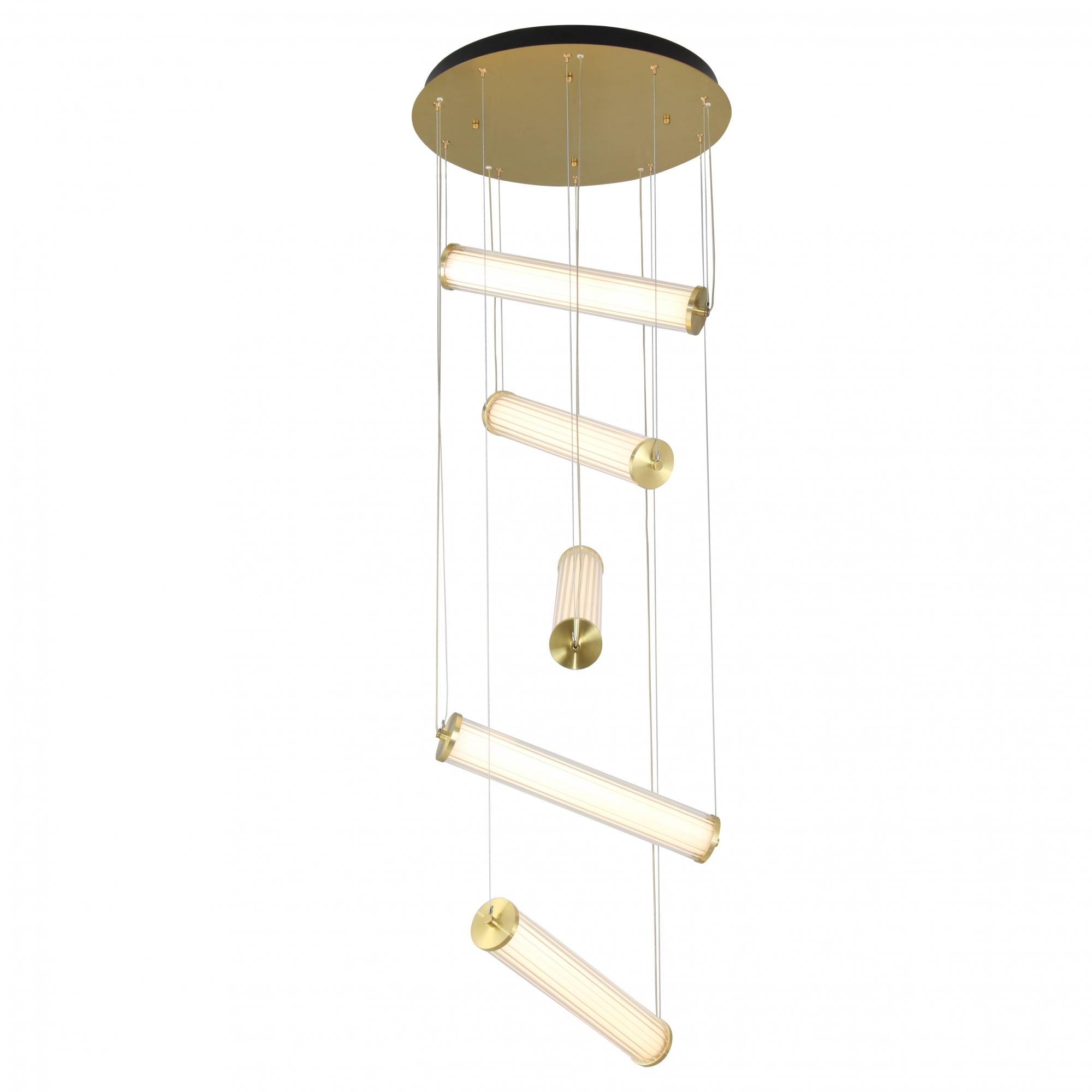 Pendente Lampe Bronze e Transparente 50x190cm 5xLed 75W Bivolt Bella Iluminação HC002