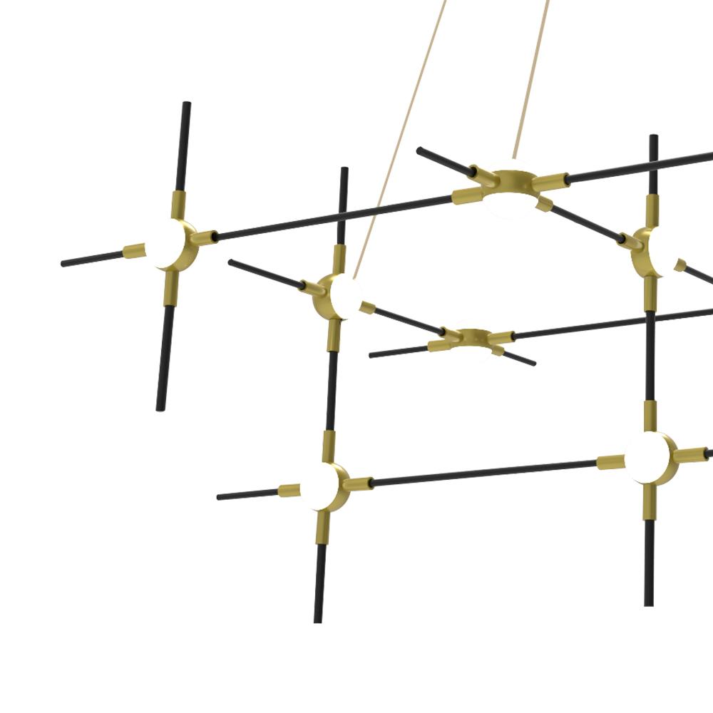 Pendente Link Preto Dourado e Branco 80x29x36cm 12xLed 48W 3000k Bivolt Bella Iluminação FT001