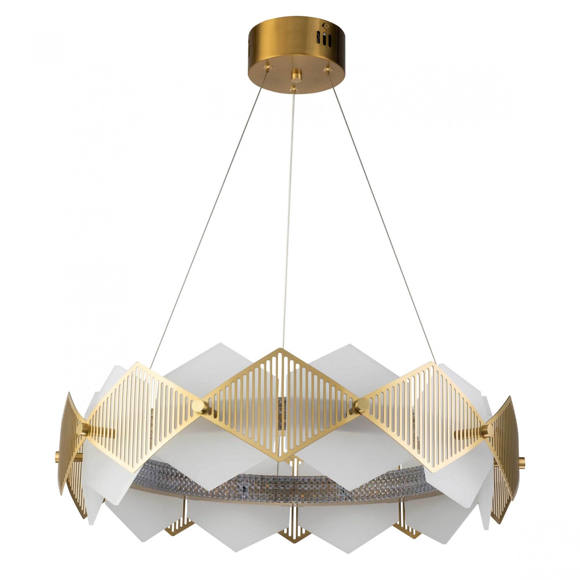 Pendente Losanghe Dourado e Branco 60x17,9cm Led 52W Bivolt Bella Iluminação EG002S