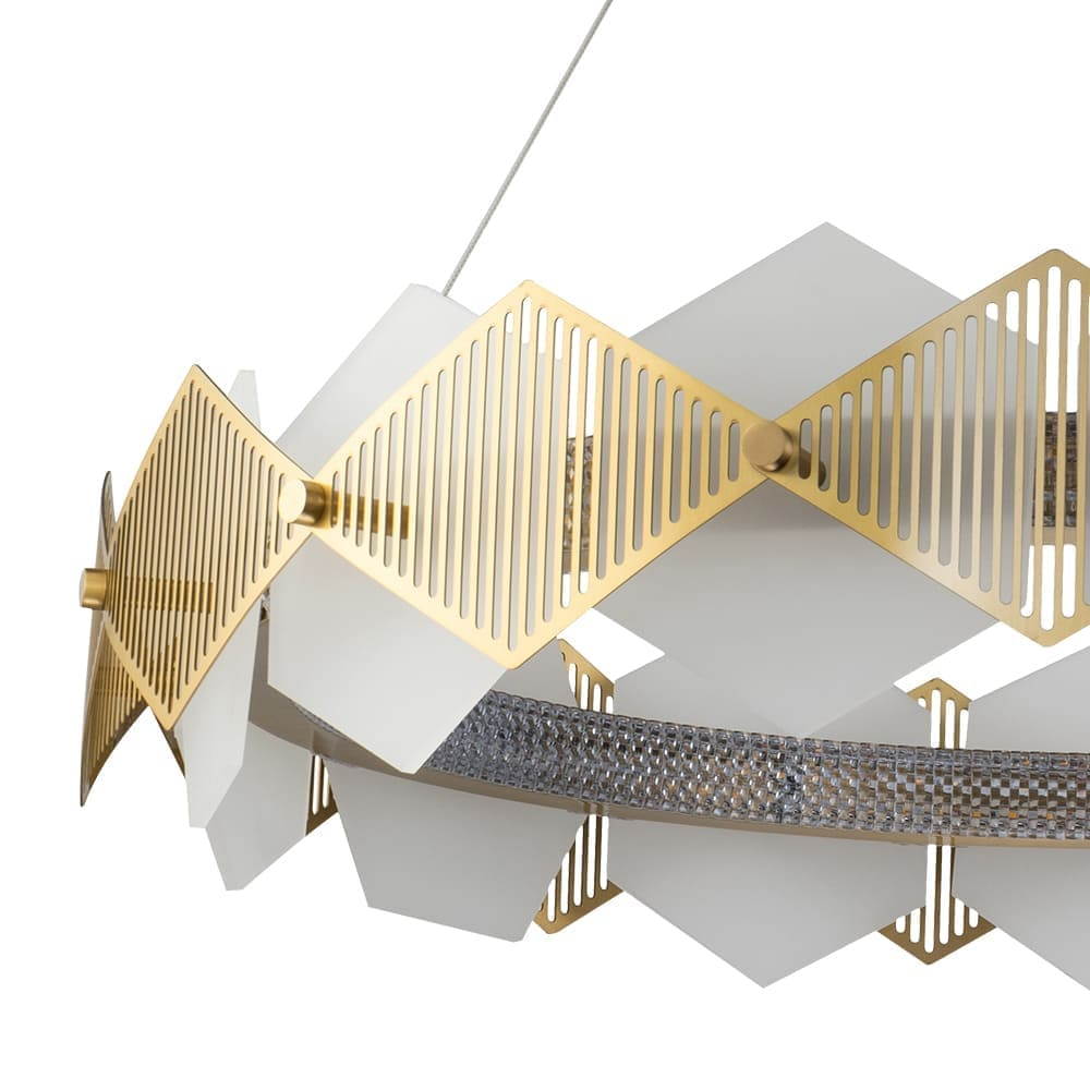 Pendente Losanghe Dourado e Branco 80x17,9cm Led 68W Bivolt Bella Iluminação EG002L