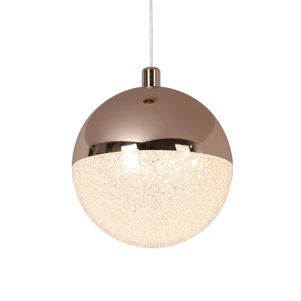 Pendente Media Luna French Gold e Transparente 12x13,5cm Led 6W Bivolt Bella Iluminação HM003