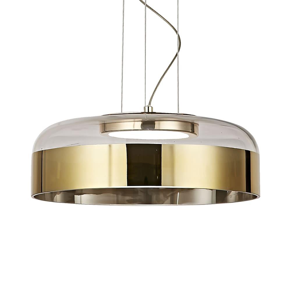 Pendente Otto French Gold e Transparente 31,5x11cm Led 15W Bivolt Bella Iluminação JO007G