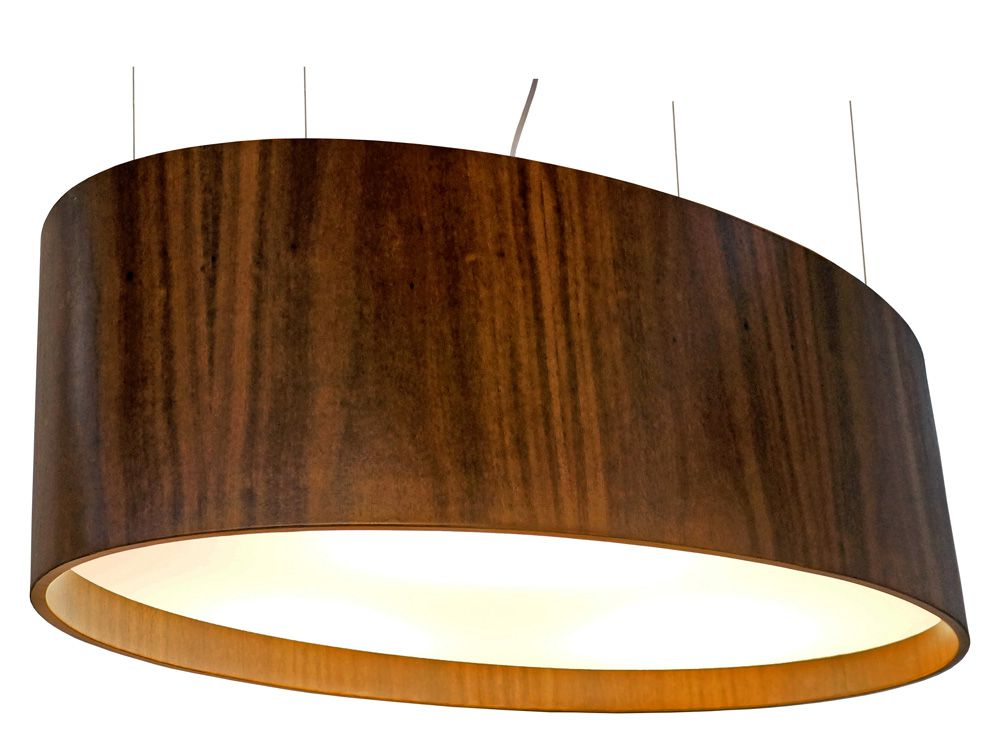 Pendente Oval Em Madeira 25x82x45cm 4xE27 Bivolt Union Iluminação 099