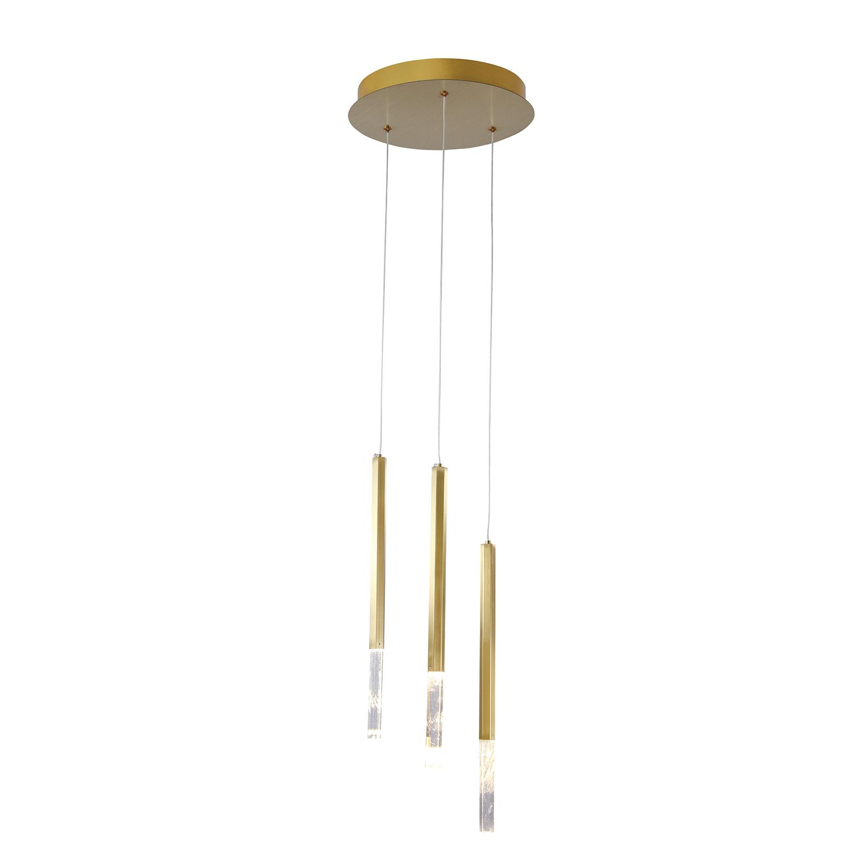Pendente Pétra Dourado e Transparente Ø30x44cm 3xLed 9W Bivolt Bella Iluminação OC001M