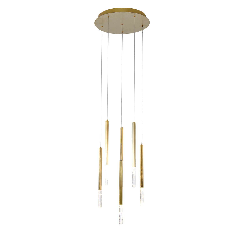Pendente Pétra Dourado e Transparente Ø40x44cm 6xLed 18W Bivolt Bella Iluminação OC001L