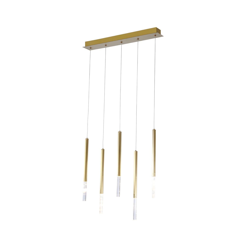 Pendente Pétra Dourado e Transparente 60x12x44cm 5xLed 15W Bivolt Bella Iluminação OC001R