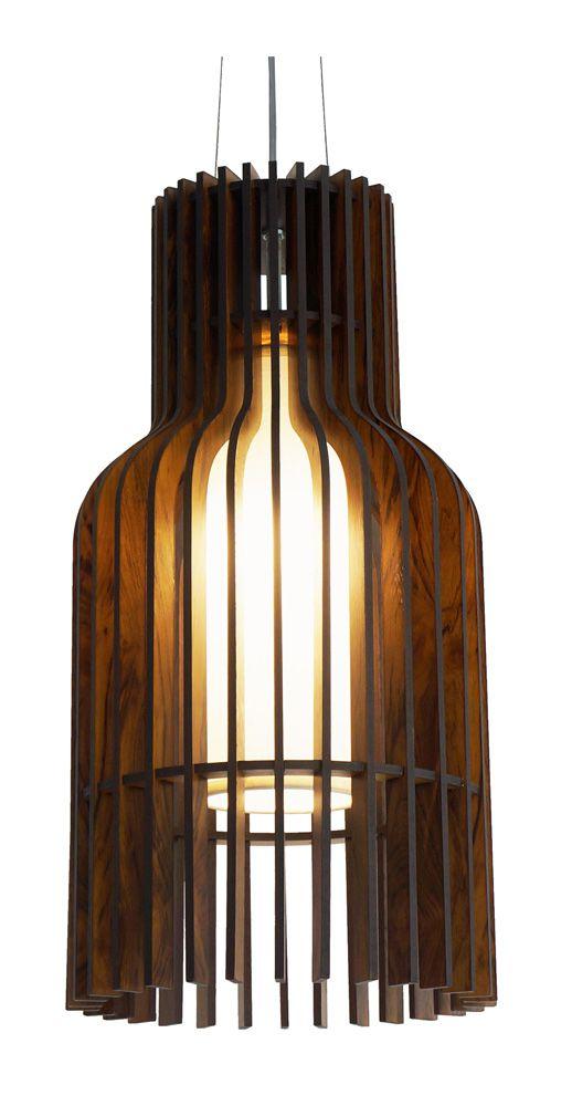 Pendente Puzzle 10 Em Madeira Ø25x50cm 1xE27 Bivolt Union Iluminação 089