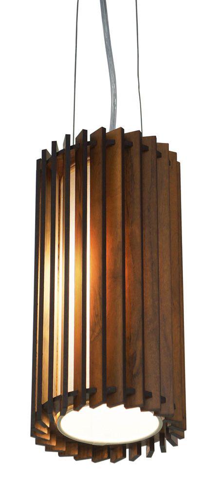 Pendente Puzzle 3 Em Madeira Ø15x30cm 1xE27 Bivolt Union Iluminação 079