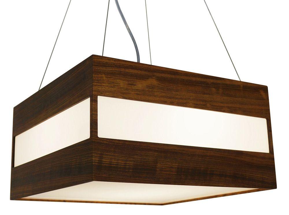 Pendente Retângulo Horizontal Em Madeira 21x40x40cm 3xE27 Bivolt Union Iluminação 012