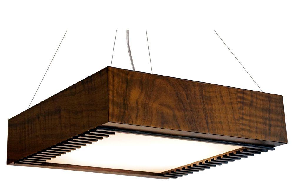 Pendente Ripado Aberto Em Madeira 12x30x30cm 2xE27 Bivolt Union Iluminação 190
