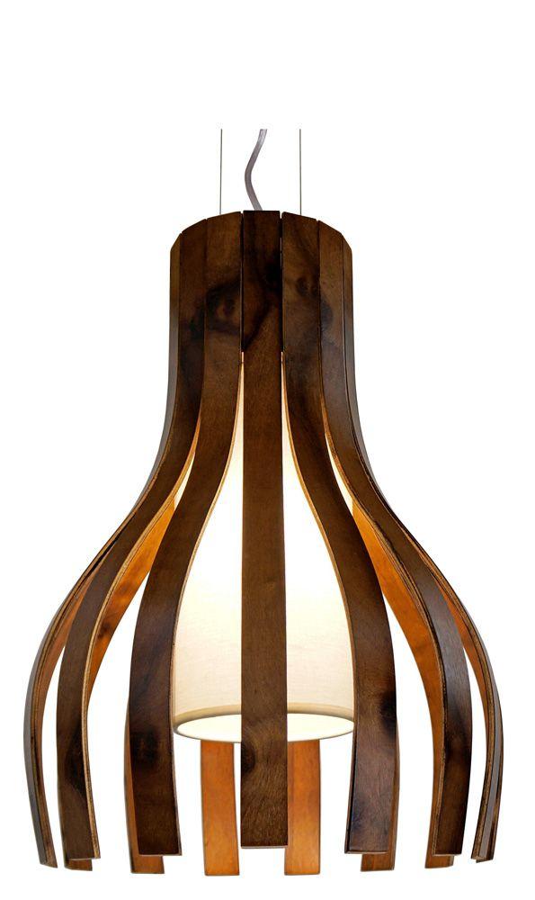 Pendente Ripado Curvo I Em Madeira Ø35x50cm 1xE27 Bivolt Union Iluminação 095
