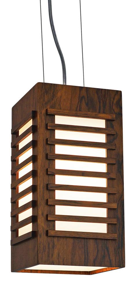 Pendente Ripado em Madeira 20x15x15cm 1XE27 Bivolt Union Iluminação 302
