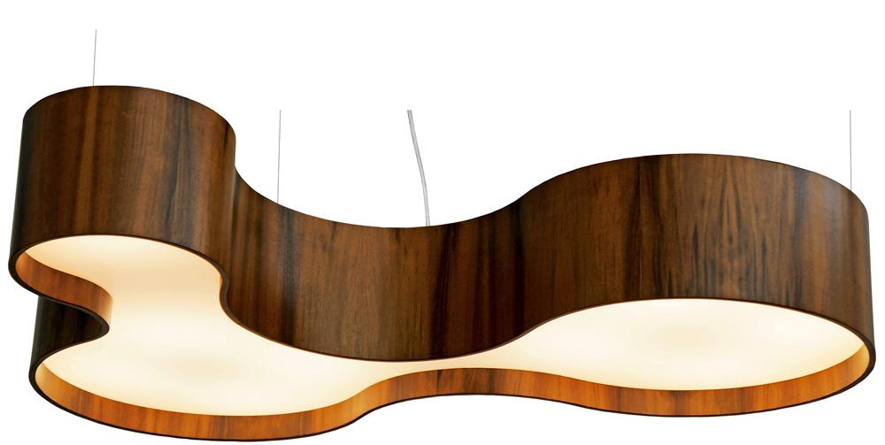 Pendente Semi Cilíndrico Em Madeira 20x100x68cm 7xE27 Bivolt Union Iluminação 116
