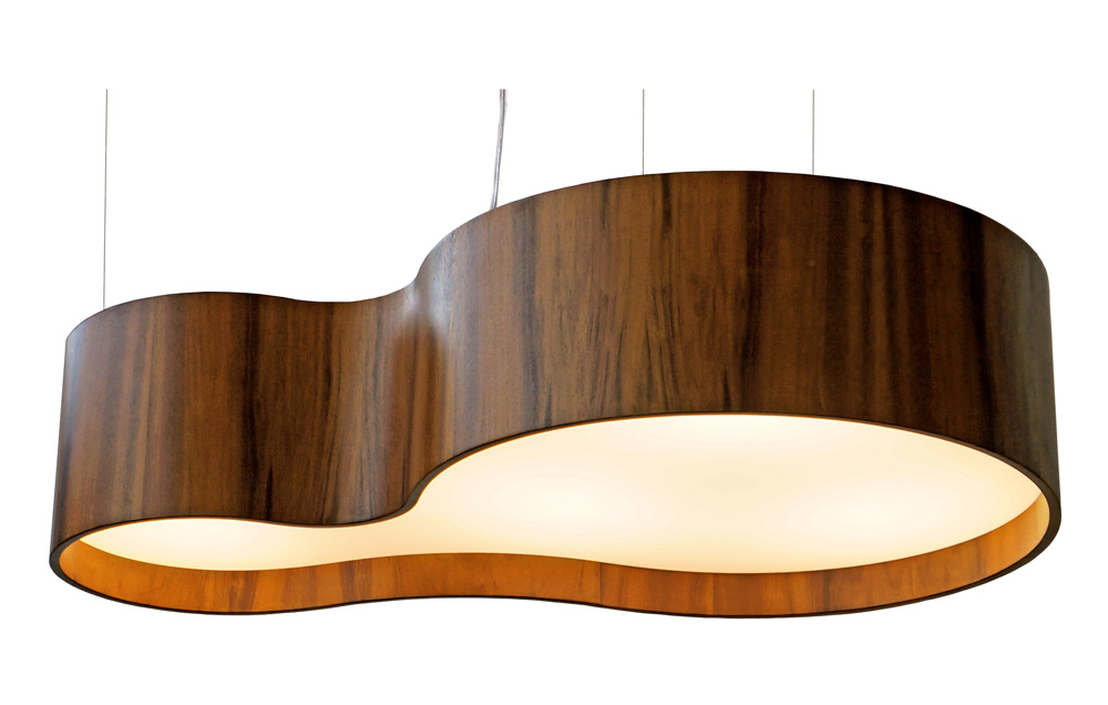 Pendente Semi Cilíndrico Em Madeira 20x100x60cm 5xE27 Bivolt Union Iluminação 247