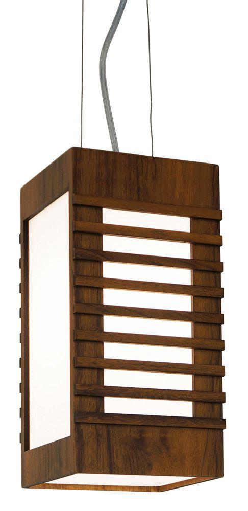 Pendente Semi Ripado Em Madeira 30x20x20cm 1xE27 Bivolt Union Iluminação 182