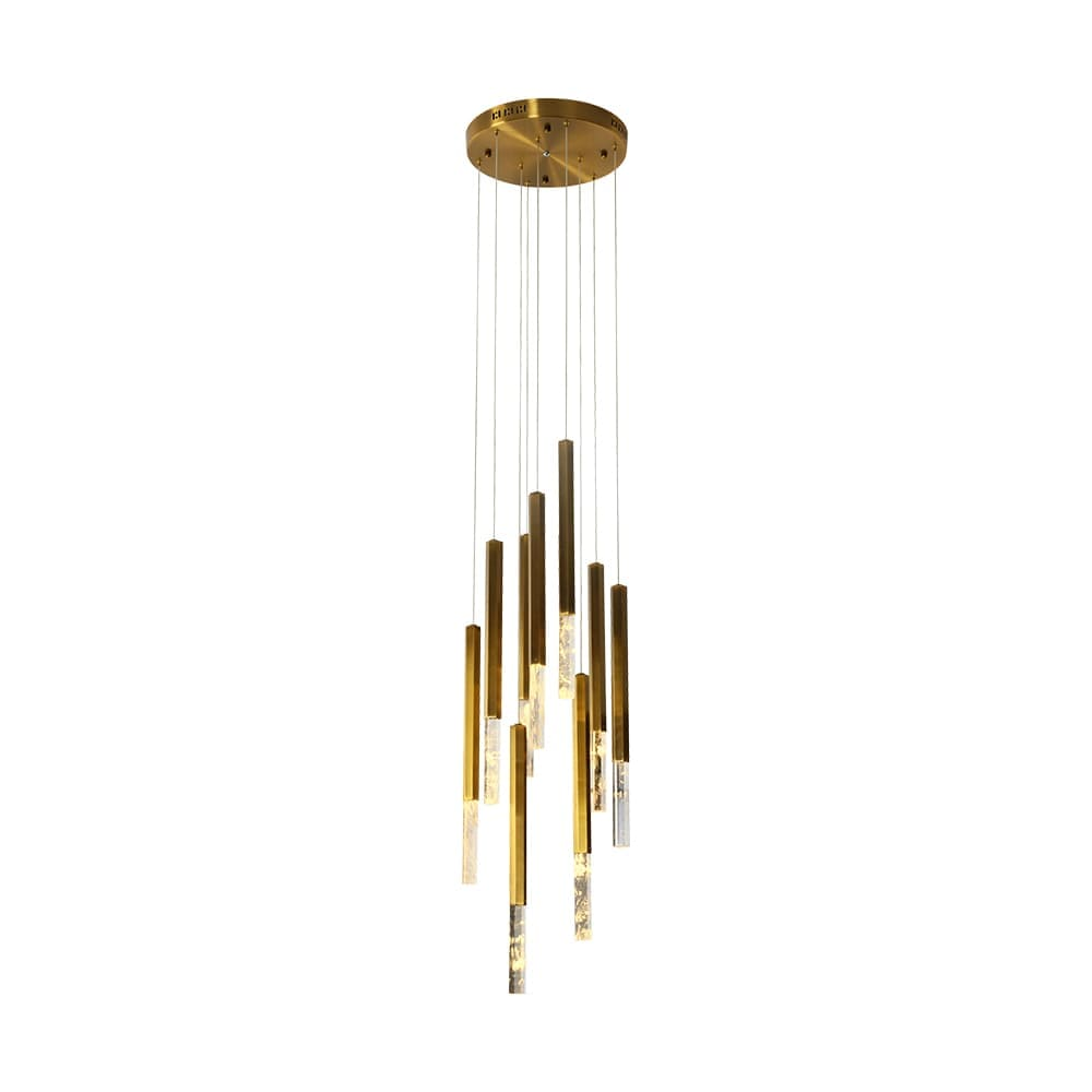 Pendente Vita Bronze e Transparente 38x51cm 9xLed 36W Bivolt Bella Iluminação HM005L