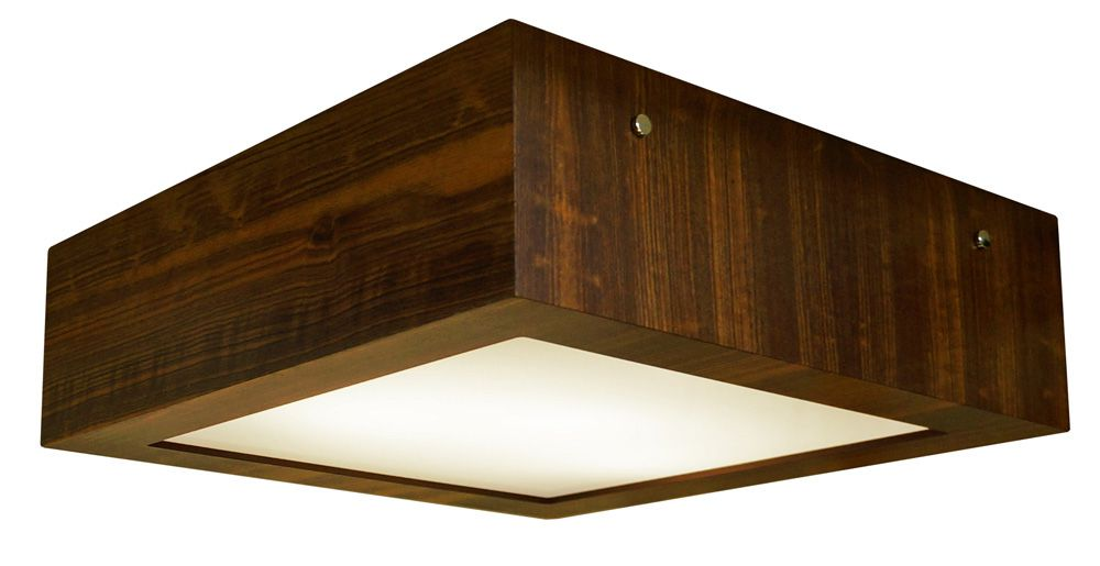 Plafon Aberto Em Madeira 12x40x40cm 3xE27 Bivolt Union Iluminação 014