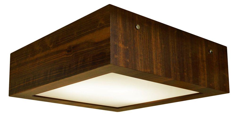 Plafon Aberto Em Madeira 12x30x30cm 2xE27 Bivolt Union Iluminação 057