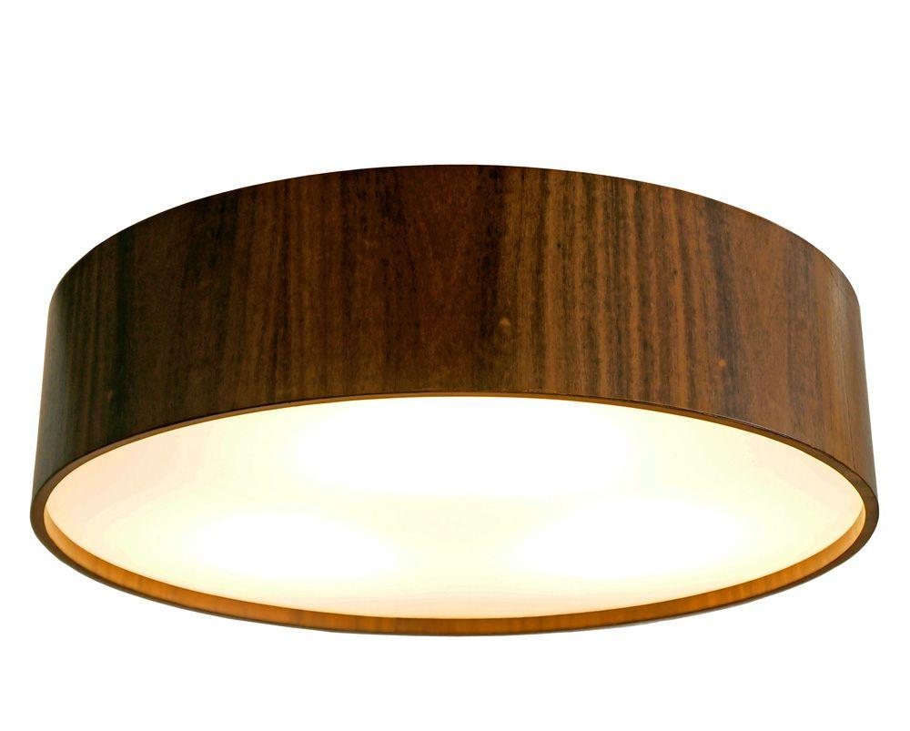 Plafon Cilíndrico Em Madeira Ø35x12cm 2xE27 Bivolt Union Iluminação 131