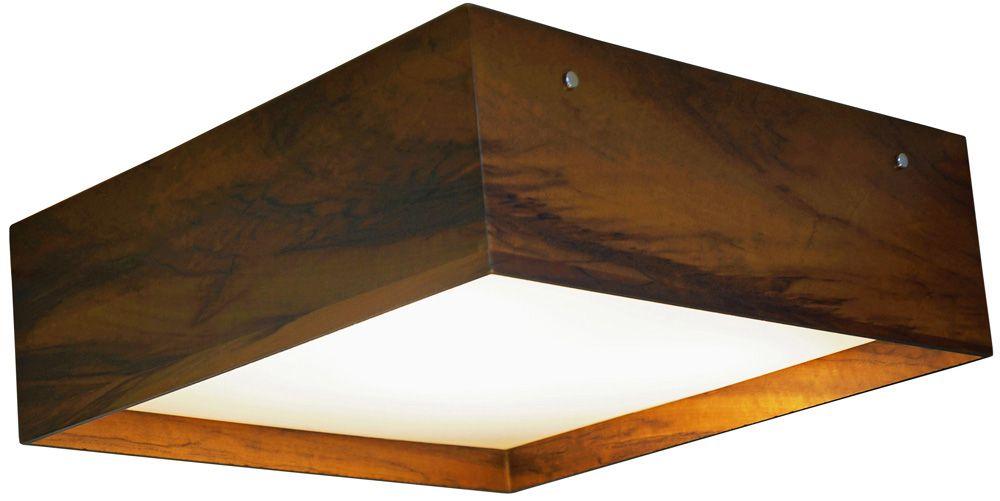 Plafon Clean Acrílico Recuado Em Madeira 15x45x45cm 3xE27 Bivolt Union Iluminação 038
