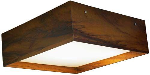 Plafon Clean Acrílico Recuado Em Madeira 15x55x55cm 4xE27 Bivolt Union Iluminação 105