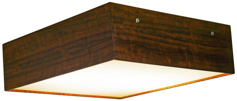 Plafon Clean Em Madeira 12x40x40cm 3xE27 Bivolt Union Iluminação 033