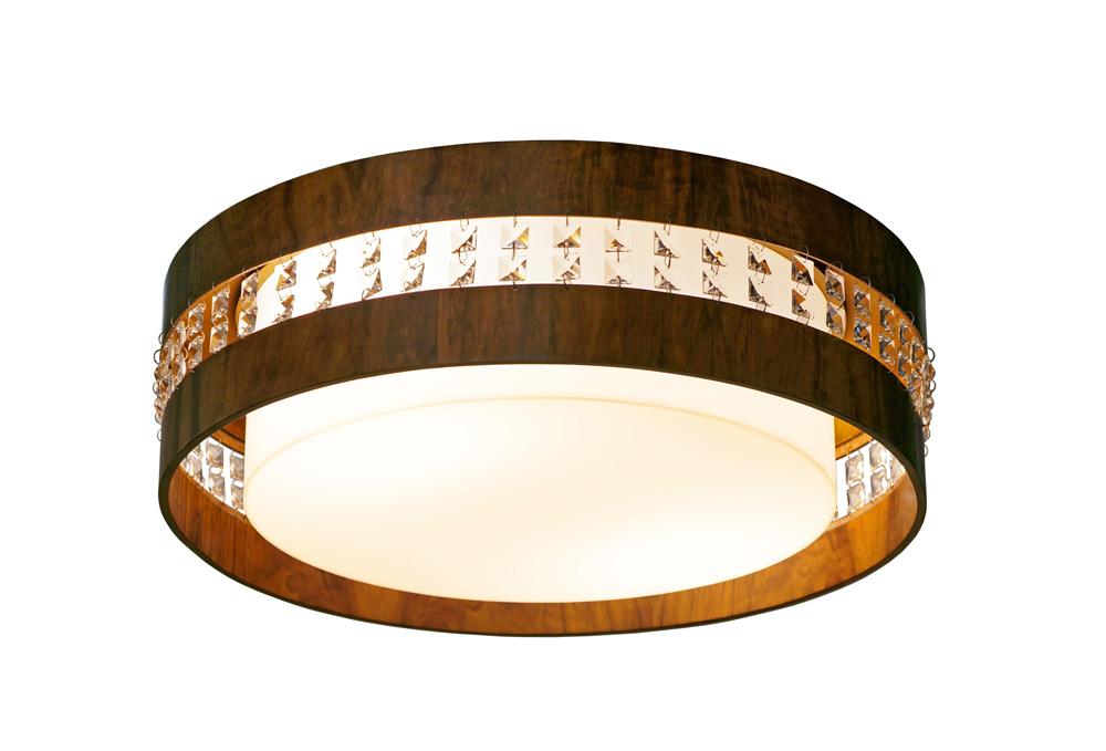 Plafon Circular Horizontal Com Cristais Em Madeira Ø50x15cm 3xE27 Bivolt Union Iluminação 270