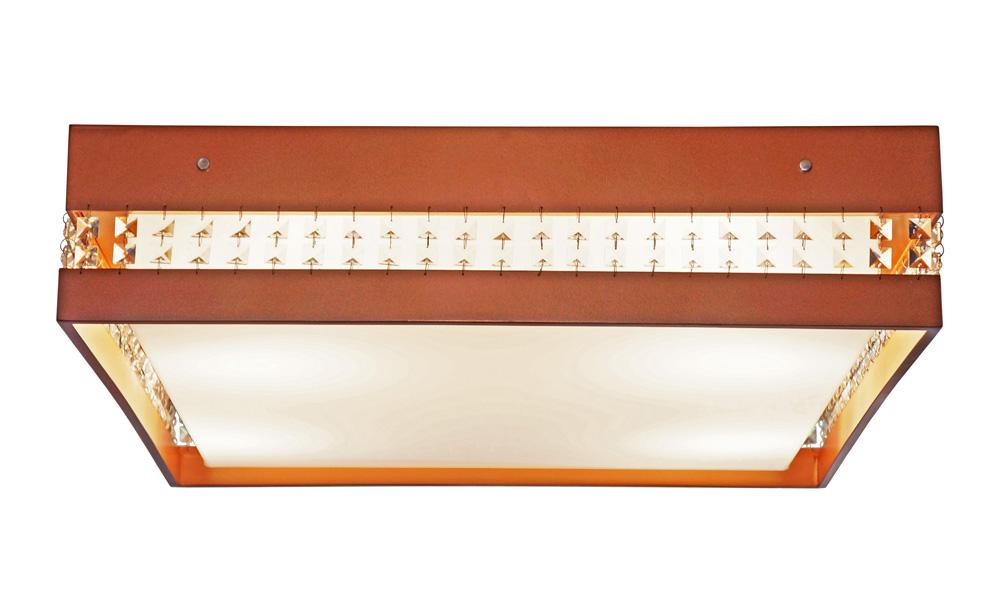 Plafon Quadrado Com Cristais Em Madeira 45x45x15cm 3xE27 Bivolt Union Iluminação 263