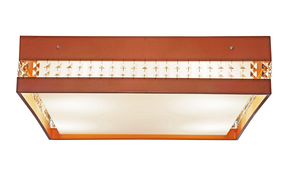 Plafon Quadrado Com Cristais Em Madeira 65x65x15cm 4xE27 Bivolt Union Iluminação 265