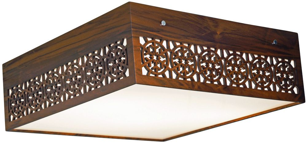 Plafon Floco De Neve Horizontal Em Madeira 15x55x55cm 4xE27 Bivolt Union Iluminação 112