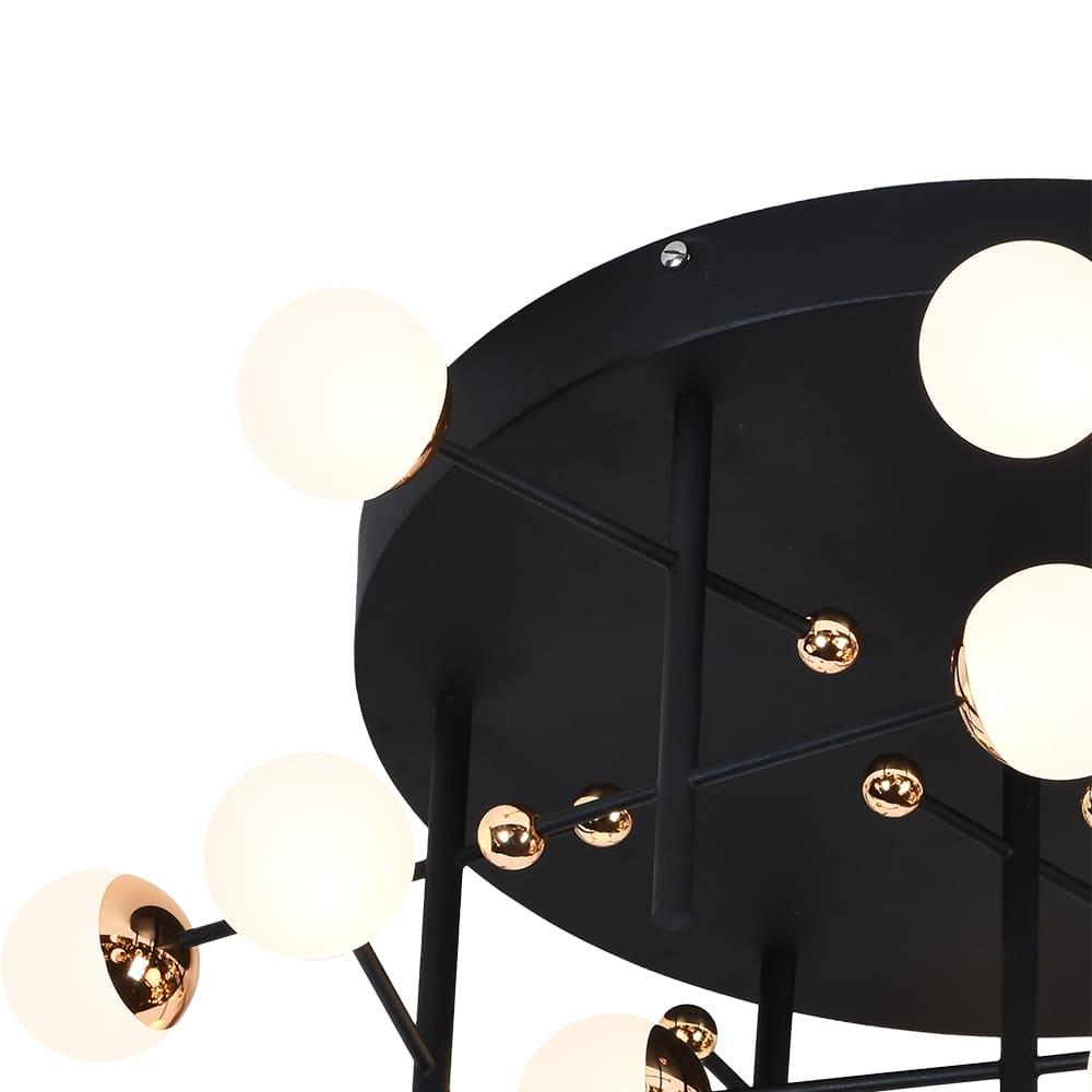 Plafon Fuxico Preto e Dourado 70x70cm 15xLed 45W Bivolt Bella Iluminação JU005