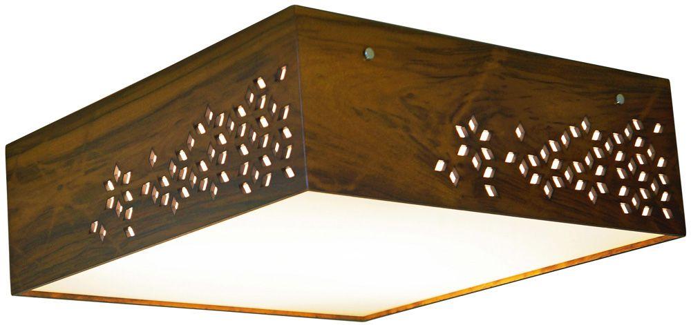 Plafon Geometric Horizontal Em Madeira 15x45x45cm 3xE27 Bivolt Union Iluminação 048